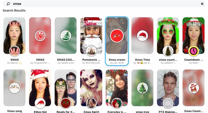 weihnachtliche Filter bei Snap Cam
