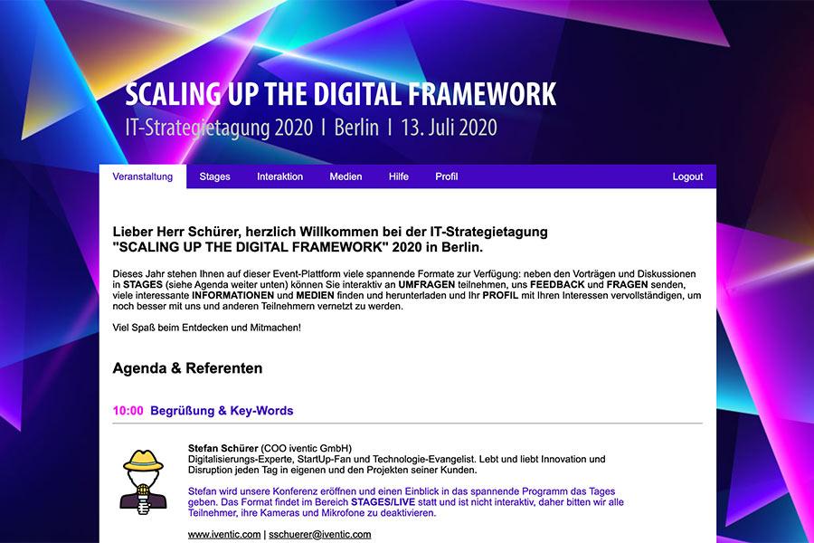Beispiel für eine Menü-Navigation auf deiner Event-Plattform
