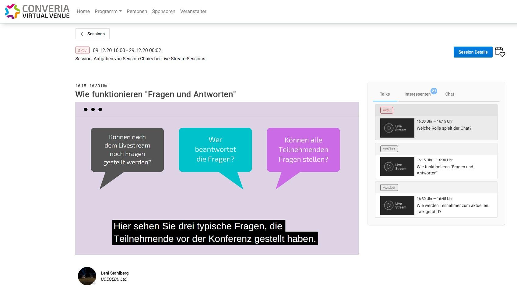Vortrag mit Untertitel auf der Converia Virtual Venue