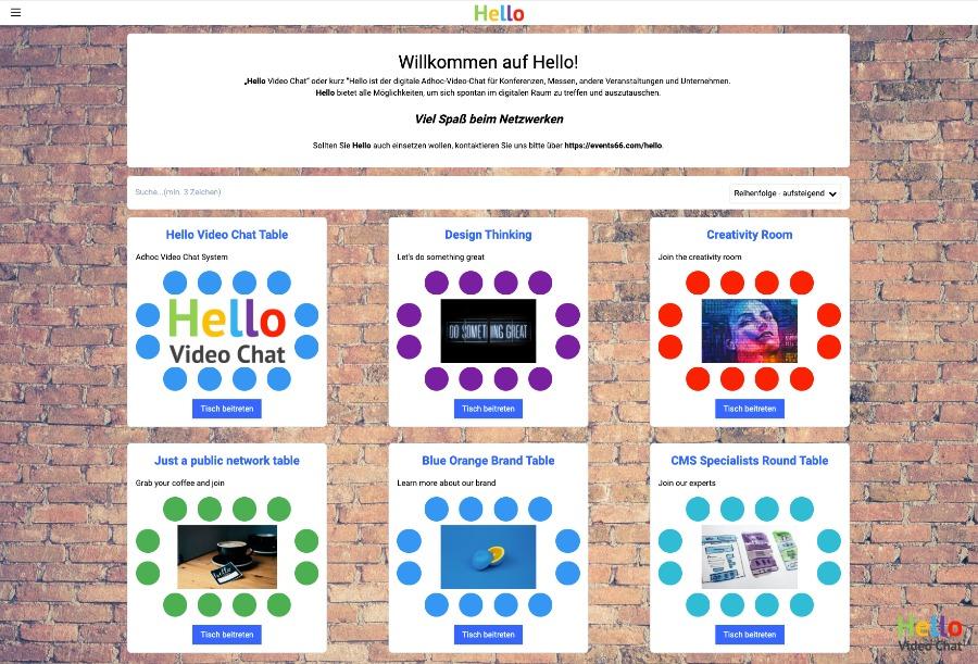 HelloSpaces fürs online netzwerken auf Online-Events oder intern