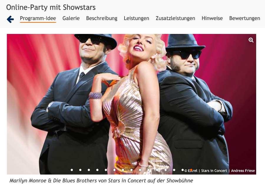 Marilyn Monroe und die Blues Brothers von Stars in Concert bei deinem Rahmenprogramm