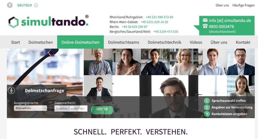 online Dolmetschen für virtuelle Konferenzen – mit simultando