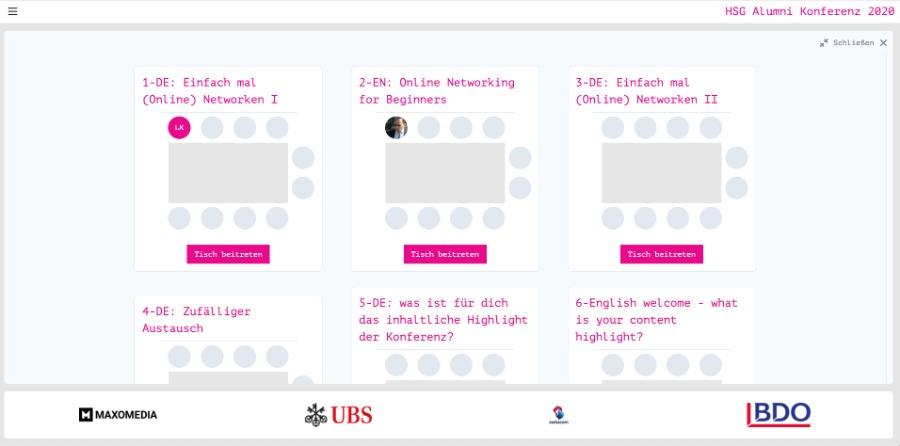 online netzwerken – an virtuellen Tischen