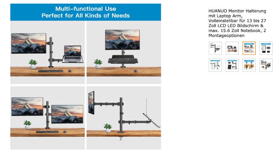 Monitor-Halterung mit Laptop-Arm