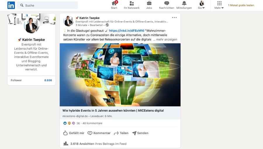 fremden Content auf LinkedIn veröffentlichen – der Link sollte dabei stets sichtbar sein