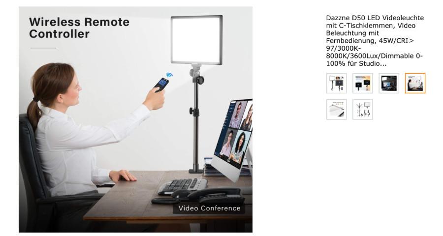 softes Licht für Videokonferenzen aus dem Home-Office
