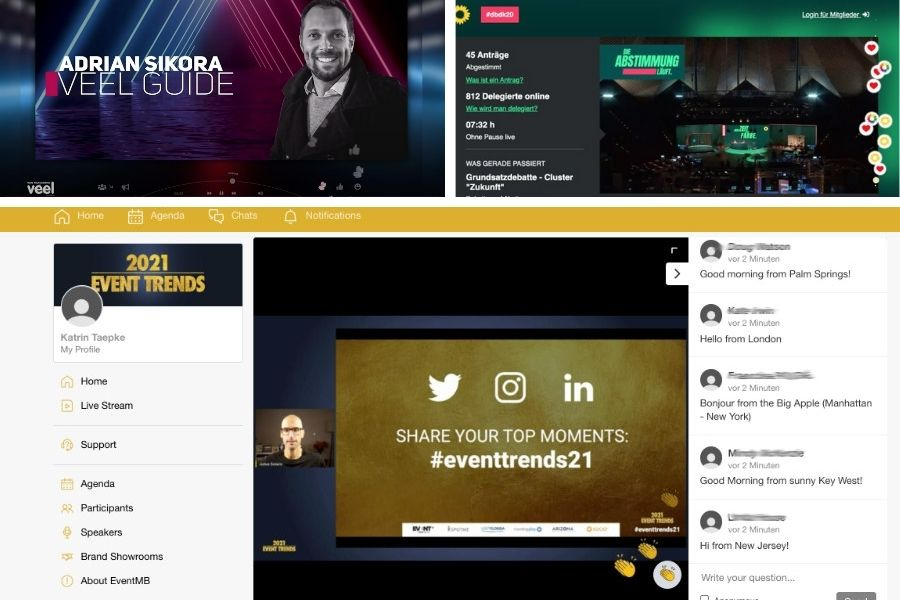 virtueller Applaus auf Online-Events