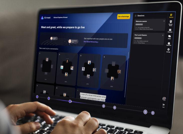 Event-Plattform Airmeet mit virtuellen Tischen