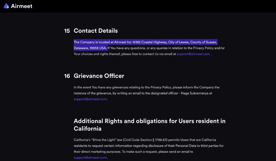 Privacy Policy | Unternehmenssitz von Airmeet