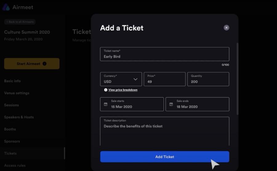 Ticketverkauf über Airmeet