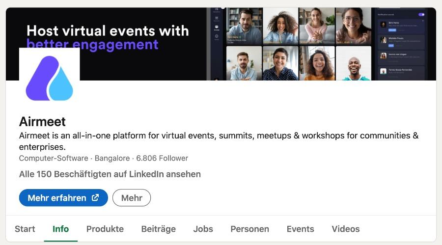 Unternehmenssitz Airmeet laut LinkedIn-Eintrag