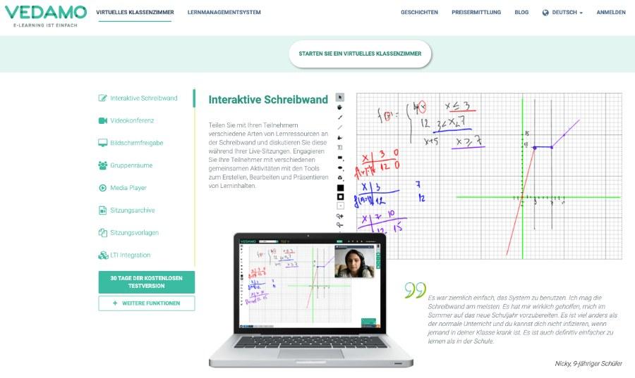 Vedamo: Videokonferenz-Plattform mit integriertem online Whiteboard