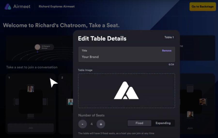 virtuelle Tische anpassen