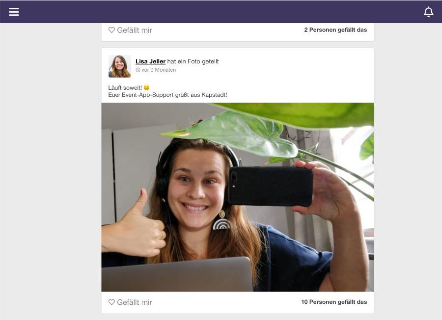 Community-Feed mit eigenen Selfies befüllen