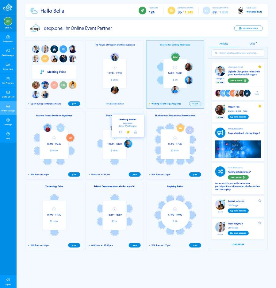 virtuelle Tische fürs Networking mit dexp.one