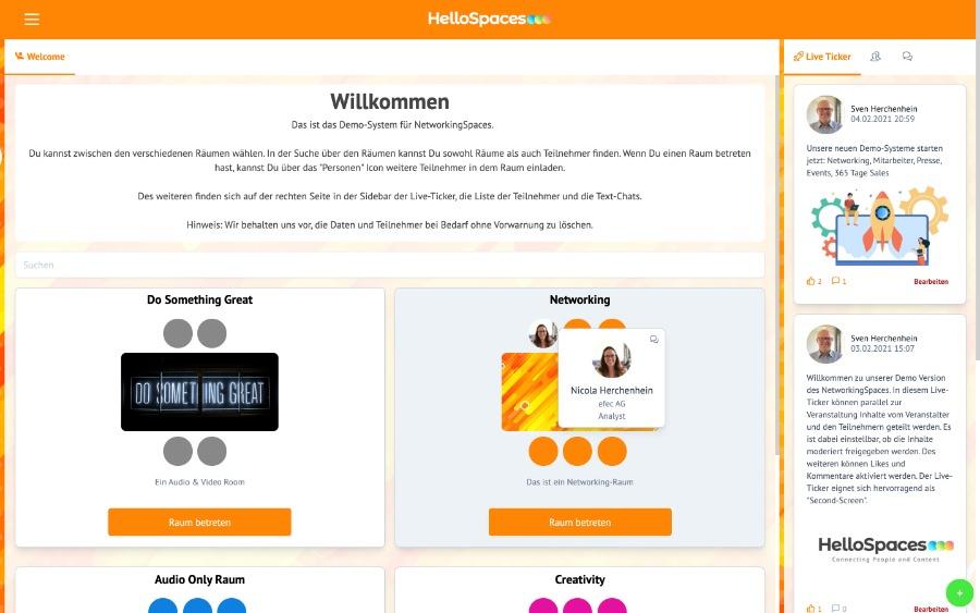 virtuelle Tische von HelloSpaces