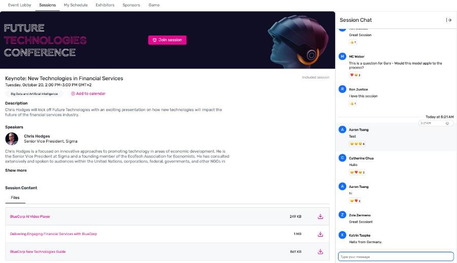 Sessionchat im Virtual Attendee Hub von Cvent