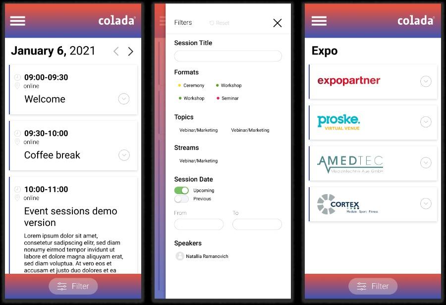 die mobile Version von colada.sessions