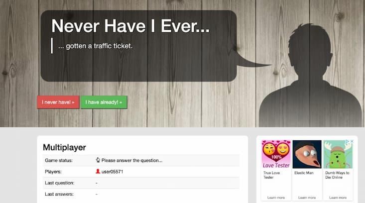 Online-Spiel: Never Have I Ever