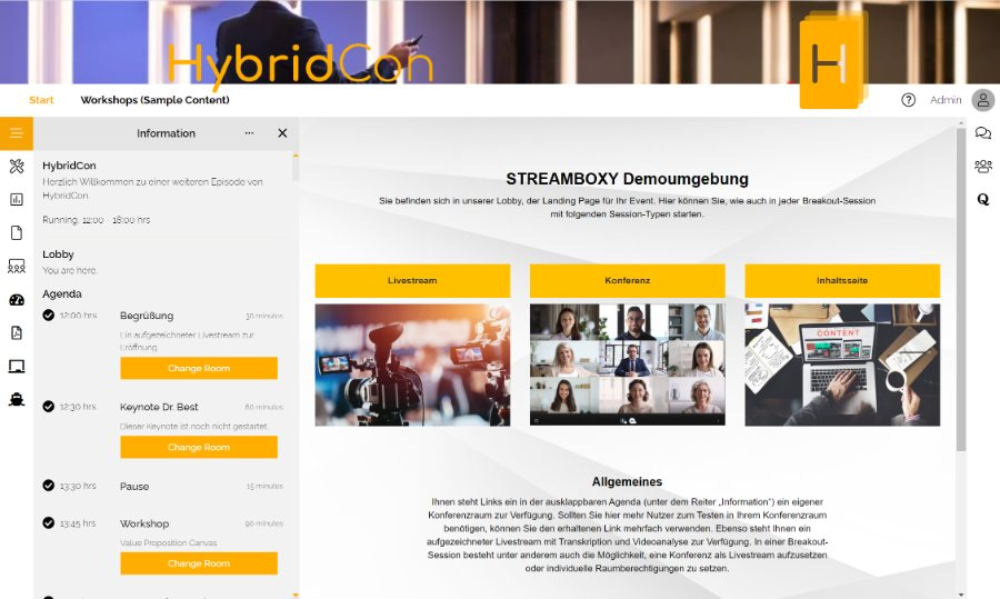 Streamboxy | Startseite der Event-Plattform