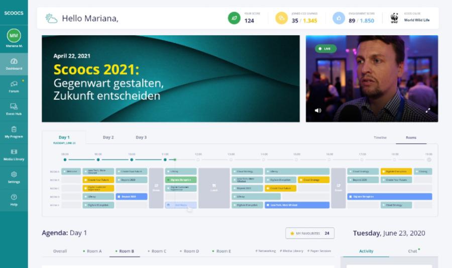 die Timeline in der SCOOCS-Event-Plattform