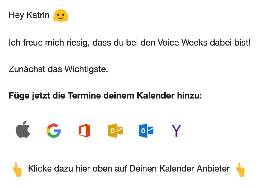 Voice Weeks | Anmeldebestätigung