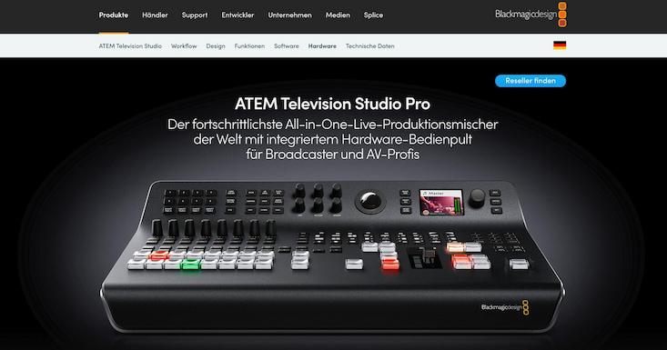 ATEM Produktionsmischer von BlackMagicdesign für Livestreamings