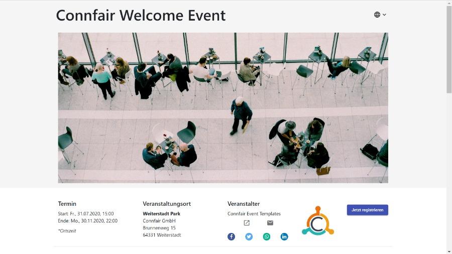 Beispiel für eine Event-Website von Connfair