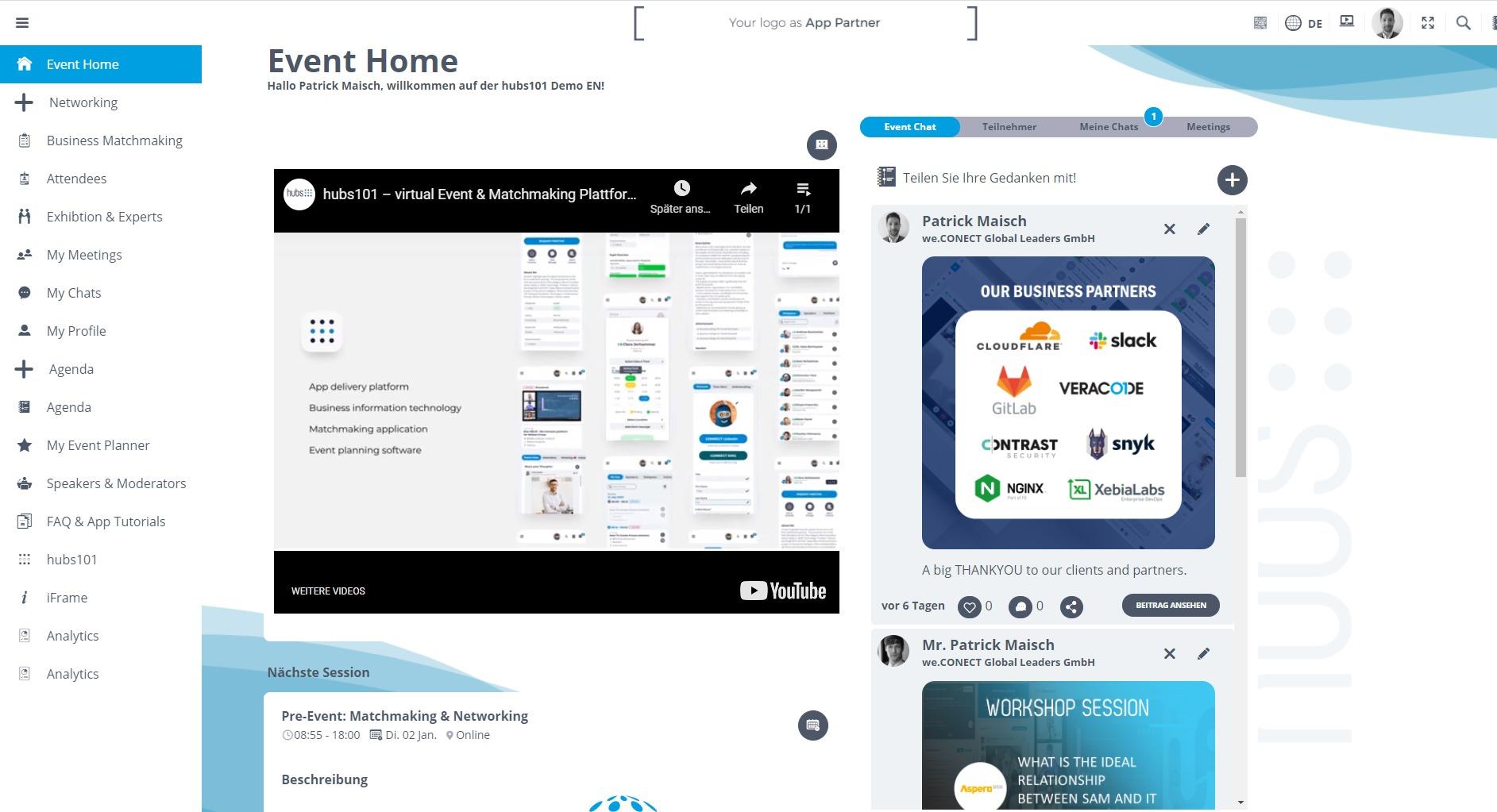 hubs101 – Plattform für virtuelle B2B Konferenzen