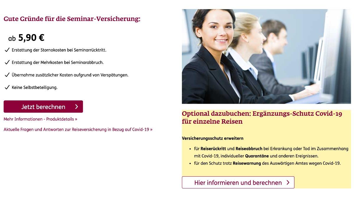 ERGO Seminarversicherung inklusive Corona Schutz