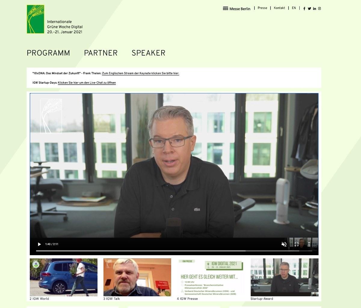 Livestream der Internationalen Grünen Woche