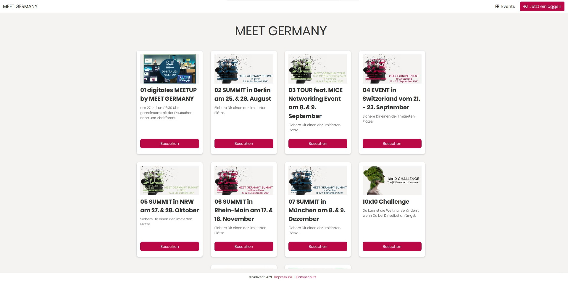 Event-Landingpage mit mehreren Events | Beispiel: MEET GERMANY
