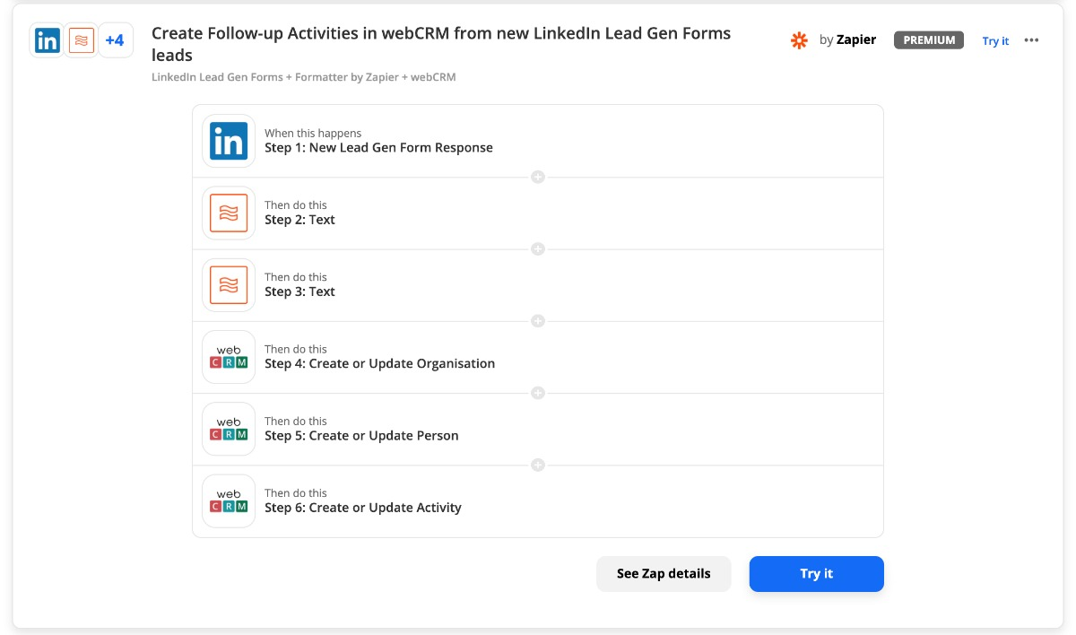 mehrstufige Zap: webCRM und LinkedIn Lead Gen Forms