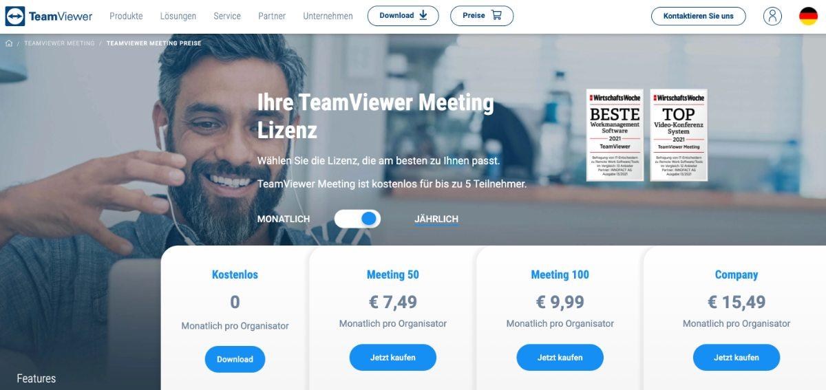 Teamviewer Meeting - kostenfreies Videokonferenz-Tool