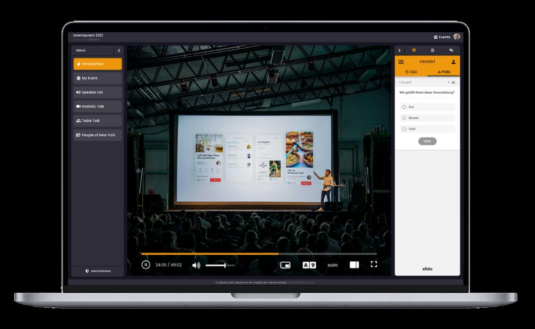 Interaktion auf der Event-Plattform von vidivent