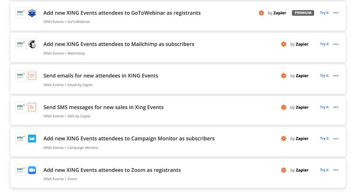 Integrationen mit XING Events
