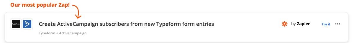 Zap: Abonnent in Activecampaign aus Typeform Eintrag anlegen