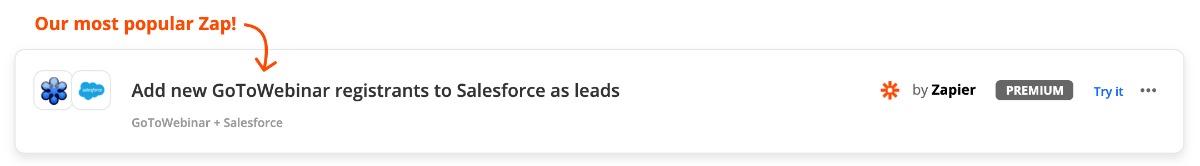 Zap: aus GoToWebinar-Anmelder automatisch via Zapier Salesforce Lead generieren