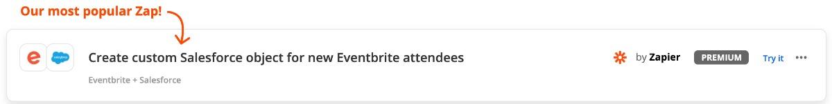 Zap: Eventbrite und Salesforce