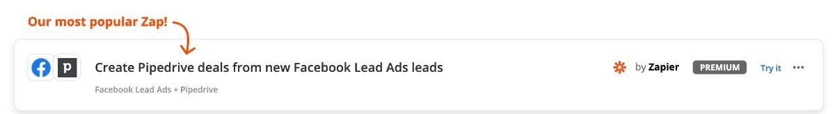 Zap: Facebook Lead Ads Pipedrive