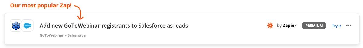 Zap: GoToWebinar und Salesforce