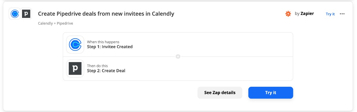 Zap: kreiere Pipedrive-Deal aus einer Calendly Einladung