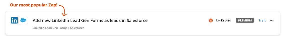Zap: Linkedin Lead Gen Salesforce