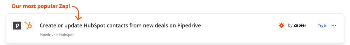 Zap: Hubspot-Kontakt erstellen aus Pipedrive