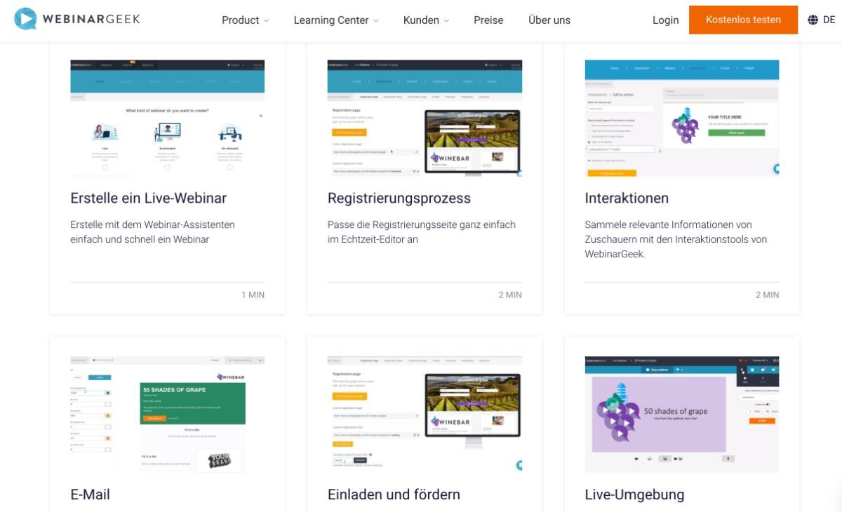Anleitungsvideos von WebinarGeek Videokonferenz-Tool